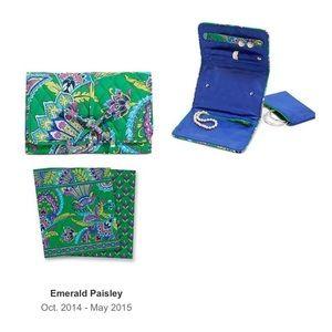 Vera Bradley Emerald Paisley Jewelry Travel Roll